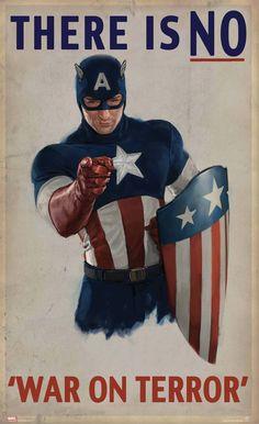 Captain America, Propaganda Poster, 'There is NO 'War on Terror'.
