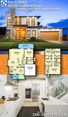 Floor Plans Modern House Designs Plan Ka Modern House Plan with Upstairs Activity Room
