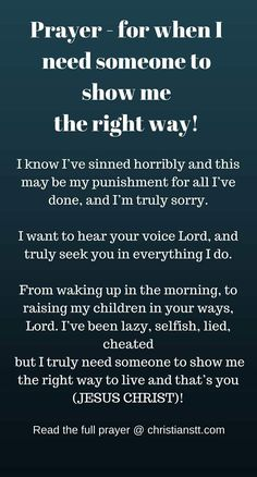 prayer for when I need someone to show me the right way