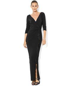 Lauren Ralph Lauren Petite Three-Quarter-Sleeve Ruffled Gown