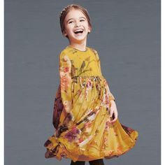 Dolce & Gabbana - Yellow Silk Chiffon Animal Print Dress | CHILDRENSALON
