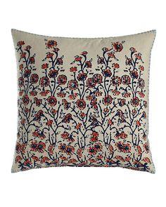 "H81PJ John Robshaw Chirah Pillow with Coral & Indigo Floral Print, 20""Sq."