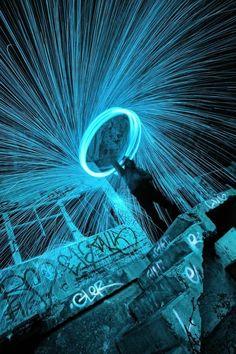 """Fire blue"" light painting by David Keochkerian Exposure Photography, Night Photography, Creative Photography, Art Photography, Magical Photography, Concept Photography, Light Painting Photography, Flow Arts, Light Trails"