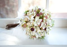 Wedding Bouquet - white alstroemeria and wine corks  Crystal Springs Florist in Benton Harbor Michigan