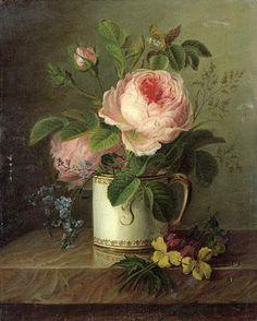 """Christiaen Van Pol,   """"Roses dans une tasse près de pensées sur un entablement"""""""
