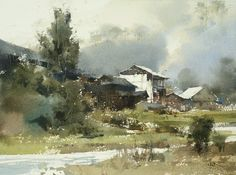 Some demo in my workshop in Shanghai Watercolor by Chien Chung Wei Watercolor Artwork, Watercolor Artists, Watercolor Techniques, Watercolor Landscape, Landscape Paintings, Art Aquarelle, Art N Craft, Urban Landscape, Painting Inspiration