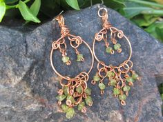 Peridot Copper Wire Wrapped Chandelier by ColdSpringsCottage, $15.00