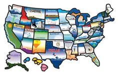 US Map State Stickers