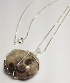 Lake Huron Petoskey Stone Necklace, Sterling Silver Wire Wrapped Rock Necklace, One of a Kind Gift from Michigan by JujusNature on Etsy
