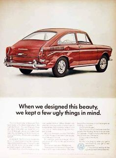 1967 Volkswagen Fastback Sedan original vintage advertisement. Photographed in vivid color. Replacement rear fender: about $37 not including labor. Extremely innovative ad to show a damaged vehicle.