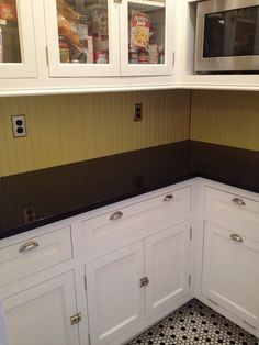 Yellow house reno on pinterest craftsman bungalows for Craftsman style kitchen flooring