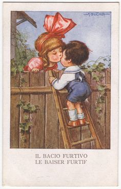Antique postcard from Italy, designed by Aurelio Bertiglia - B- A quick kiss