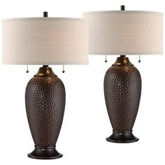 Cody Oiled Bronze Table Lamp Set of 2