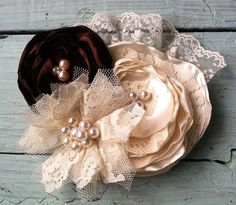 Satin and Lace Fabric Flower Headband - Girls Headband - Photo Prop - Shabby Chic - Brown, Cream - Lace Flower