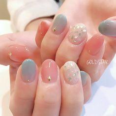 Luv Nails, Soft Nails, Pretty Nail Art, Cute Nail Art, Classy Nails, Stylish Nails, Multicolored Nails, Asian Nails, Kawaii Nails