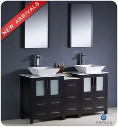 "Fresca FVN62-241224-VSL Torino 60"" Free Standing Vanity Set with Engineered Wood Espresso Fixture Vanity Double"
