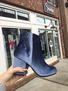 Blue velvet booties #swoonboutique
