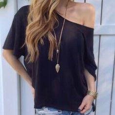 Women's Sexy Off Shoulder Cotton Blouse Top 3 Colors, S-XL