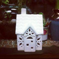 Miniature houses with LED lights.