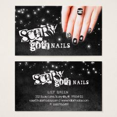 #salon - #Scary Goth Nails Nail Salon Black Star Night Sky Business Card