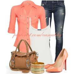 Button up Coral Blouse & Braided Handbag