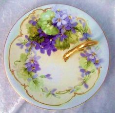"""Gorgeous Vintage Bavaria 1912 Hand Painted Vibrant """"Violets"""" 7-1/2"""" Nappy by the Listed Early Chicago Artist, E. Heimerdinger"""""""