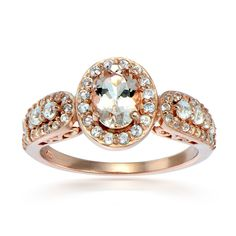 Glitzy Rocks 18k Rose Gold over Silver Morganite and White Topaz Oval Ring | Overstock.com Shopping - The Best Deals on Gemstone Rings
