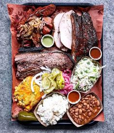"""I call this BBQ platter """"Heaven.Cheese taters & all the fixins! Courtesy: The ultimate Texas 'que in Charleston - Lewis Barbecue Meat Platter, Food Platters, Smoked Brisket, Bbq Brisket, Tasty, Yummy Food, Cooking Recipes, Healthy Recipes, Cheat Meal"""