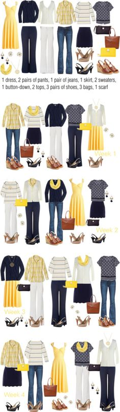 Yellow & Navy: Extended Work Capsule by kristin727 on Polyvore featuring Bettie Page, Monsoon, Paige Denim, J.Crew, MINKPINK, Naturalizer, Kate Spade, Nine West, Dooney & Bourke and Armani Jeans