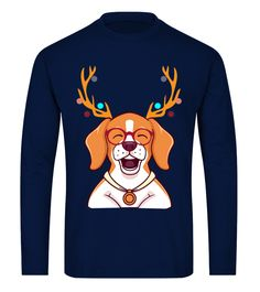 XMAS Funny Beagles with Antlers Christma (Long sleeved T-shirt Unisex - Navy) #christmaspillow #christmasromper #christmastide ribbon on christmas tree ideas, christmas tree skirt, black christmas tree, back to school, aesthetic wallpaper, y2k fashion