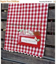 Kitchen Towel Tea Towel Appliqued Dish Towel by TwoGirlsLaughing