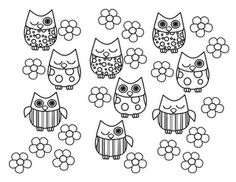 cute owls and baby owls coloring page