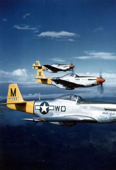 P-51D Mustangs of the 4th Fighter Squadron in flight, 1944-45 source: United States National Archives via D. Sheley