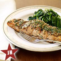 Grilled Salmon with Mustard-Herb Crust