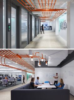 Studio BV have designed the Field Nation offices that were inspired by a circuit board and features orange conduit piping throughout, guiding people to the various areas of the office. Office Ceiling Design, Office Space Design, Modern Office Design, Workplace Design, Office Interior Design, Office Interiors, Office Designs, Exposed Ceilings, Open Ceiling