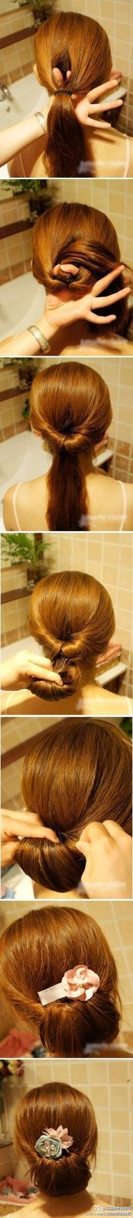 An Updated Chignon - Lazy Hair Day Summer Hairstyles, Pretty Hairstyles, Easy Hairstyles, Girl Hairstyles, Wedding Hairstyles, Latest Hairstyles, Creative Hairstyles, Wedding Updo, Interview Hairstyles