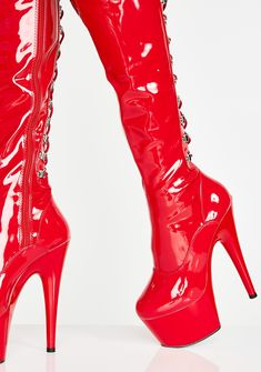 Red Heel Boots, Red Heels, High Heel Boots, Thigh High Heels, Stripper Heels, Punk Boots, Shoe Wardrobe, Punk Rock Fashion, Hype Shoes