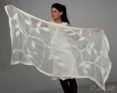 Nuno felted scarf White leaves petals Handmade Silk by JumiFelt