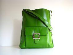 Leather Handbag Pocket Messenger Green