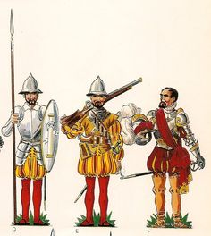 Spanish; Infantry in the reign of Charles I(1518-56) Pikeman, Arquebusier & General