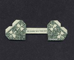 DOUBLE HEART In God We Trust Money Origami
