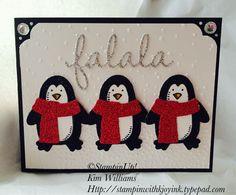 Snow Place Stampin' Up stamps. Seasonal framelits. Glimmer paper. Curvy Corner Trio Punch. Stampin with Kjoyink. Stampinwithkjoyink.typepad.com #penguins. I love Penguins. Kim Williams