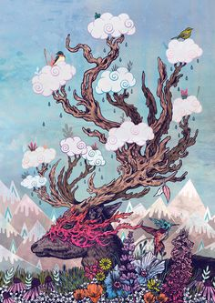 """""""Journeying Spirit (deer)"""" Art Print by Mat Miller on Society6."""