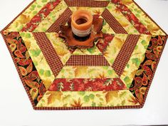 Hexagon Autumn Table Runner Quilt or Candle Mat with Fall Leaves in Gold, Rust Brown and Black, Fall Hexagon Quilted Table Runner by QuiltSewPieceful on Etsy