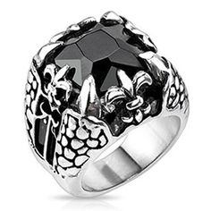 Dragonstone – Large square-cut onyx gem dragon claw Fleur De Lis oxidized silver stainless steel men's ring