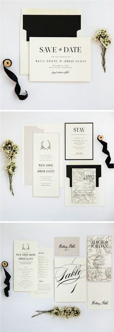 Ivory, Stone and Black Neutral Rustic Wedding Invitation Suite from Champagne Press http://www.champagnepress.com/rustic