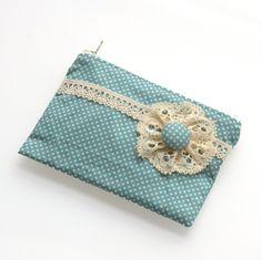 Polka Dot Coin Zipper Purse Vintage Teal Blue. $16.00, via Etsy.