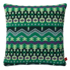 This bold cushion inspired by Arctic landscapes will brighten up any room. 100% Lambswool, knitted in Scotland. Comes with a duck feather cushion pad.