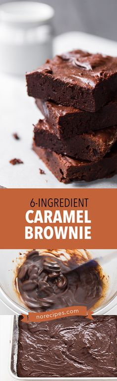 A 6 ingredient brownie that's mostly dark chocolate and vanilla caramel.  Chewy, decadent and