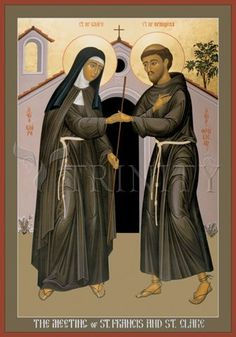 "The Meeting of Sts. Francis and Clare | Catholic Christian Religious Art - Icon by Br. Robert Lentz, OFM - From your Trinity Stores crew, ""Here's to Franciscan Sts. Francis & Clare!"""